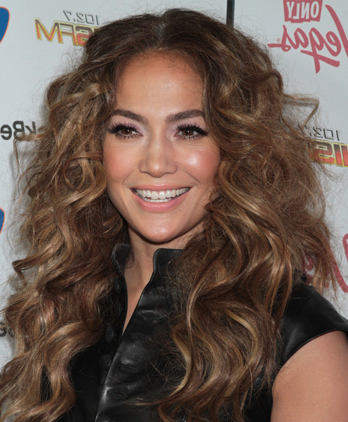 Jennifer Lopez Center Parted Long Brown Curly Hairstyle
