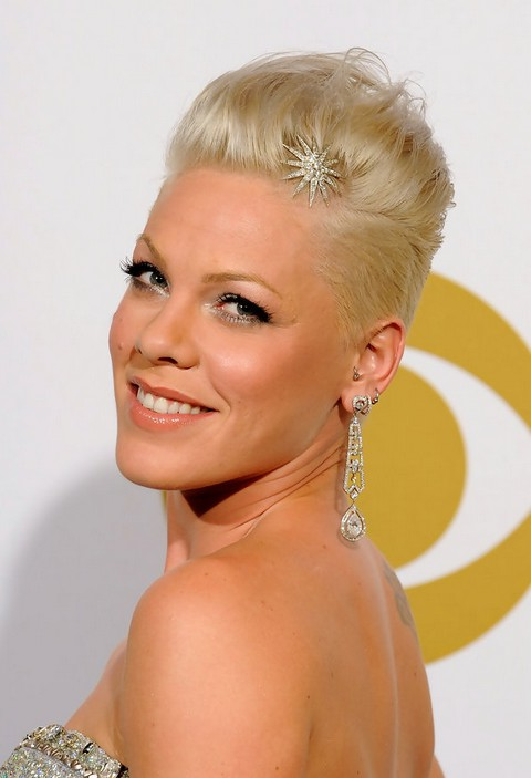 Pink Hairstyle: glam short formal hairstyle