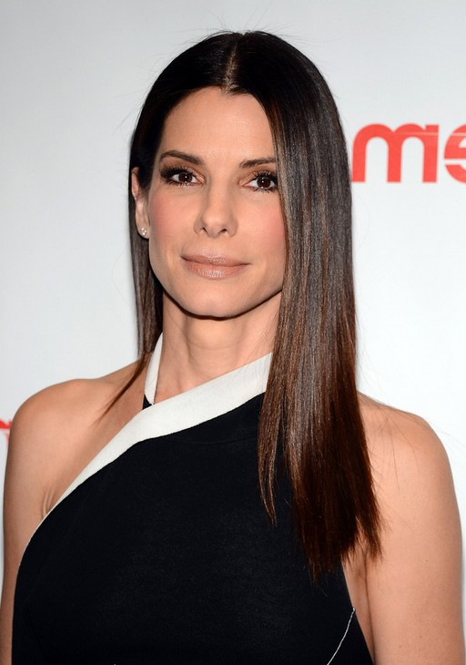 center parted hairstyle - long straight hairstyle - Sandra Bullock Hairstyle