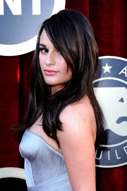 Back to School Hairstyle Ideas: Lea Michele Layered Long Sleek Hairstyle