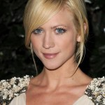 Cute side parted updo with bangs for girls - Brittany Snow's hairstyles