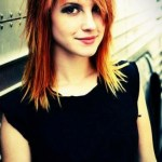 Long straight bob hairstyle with Copper Balayage - Hayley Williams hairstyles