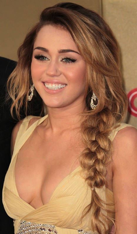 Sexy Side Braided Hairstyle for Long Hair: Miley Cyrus Long Braided Hairstyle