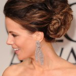 Side View of Free-form Balayage Updo - Kate Beckinsale's Hairstyle