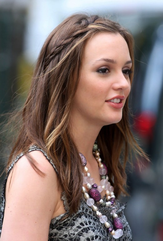 Cute braided long sleek hairstyle - Leighton Meester's Hairstyle