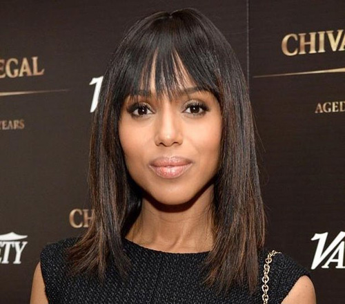 Long straight bob hair style with blunt bangs