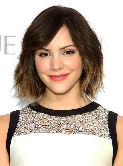 Katharine McPhee Short Ombre Hairstyles 2015 - Layered Bob Cut with Bangs