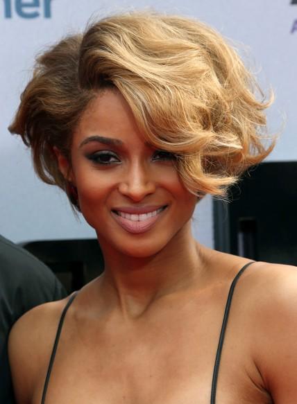 Ciara Short Hairstyles - 2014 Elegant Wavy Curly Hair Styles for Black Women