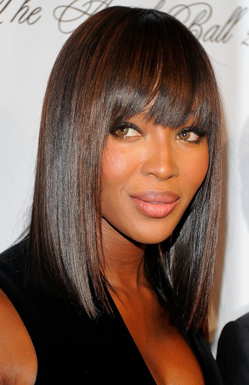 Naomi Campbell hairstyle - medium demi bob hairstyle for black women