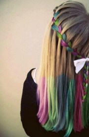 hair chalk trend rainbow waterfall