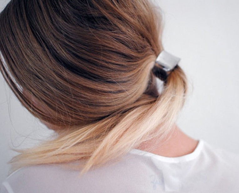 Back View of Loose Ponytail with Metallic Hair Cuff