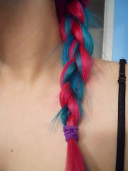 cute hair - pink & blue colored