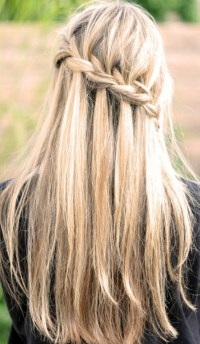 Waterfall Braid for Long Straight Hair - Back View ...