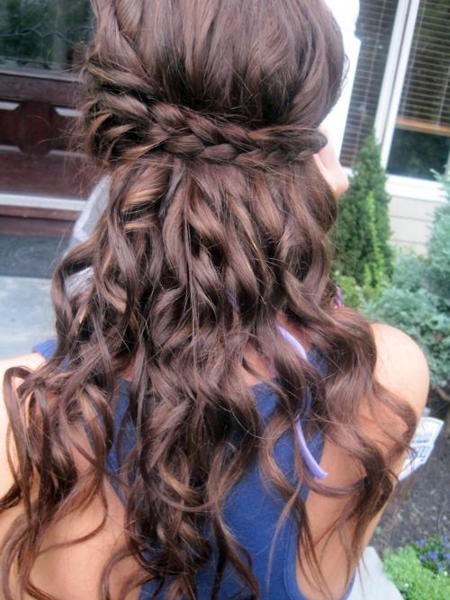 Cute Girls Hairstyles: Waterfall Braid with Curls