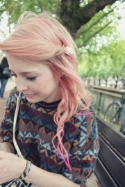 cute girls pink hairstyle spring