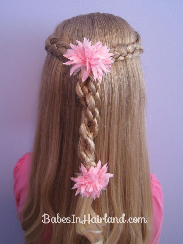 Back View Braided Hairstyle for Little Girls