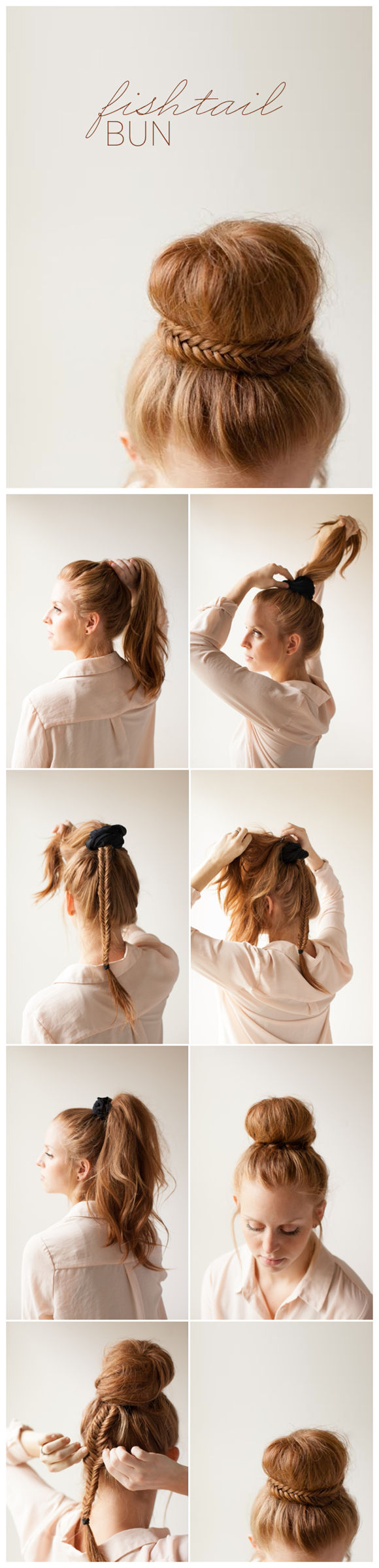DIY Hairstyles: Braided Fishtail Bun Updo Tutorial
