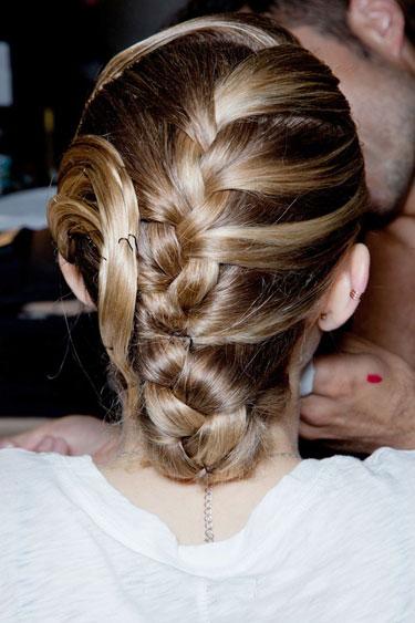 Back View of Elegant Braided Chignon for Women