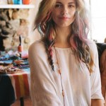 Hair Chalk multicolored long hairstyle for women