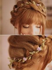 cute flower braided updo with rosebud