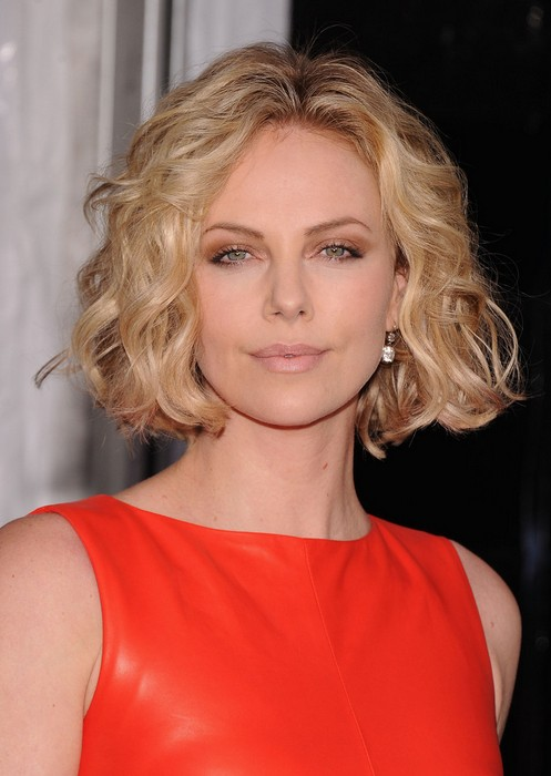 Short Curly Bob Hairstyle for Round Faces - Charlize Theron Haircut