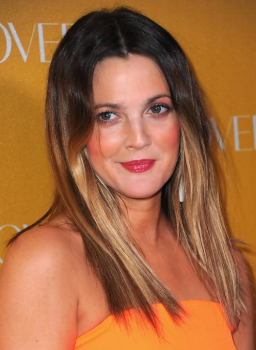 Drew Barrymore Long Ombre Hair for Round Faces