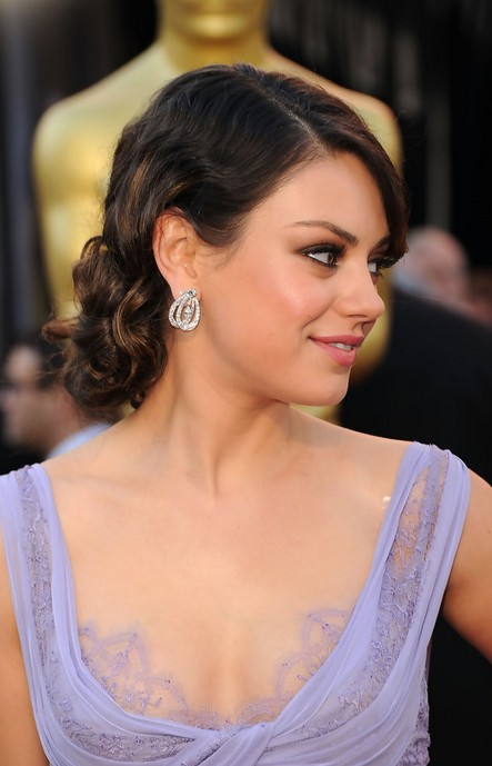Mila Kunis Loose Updo for Round Faces