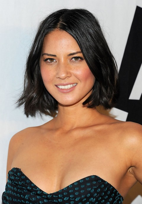 Short Haircut for Round Faces - Olivia Munn Black Bob Hairstyle