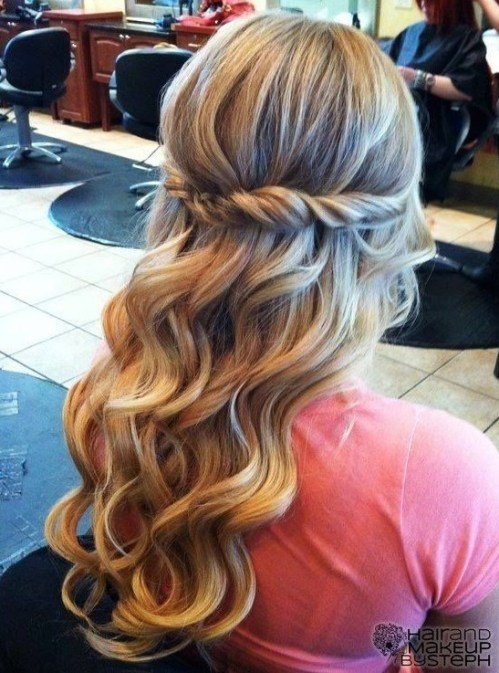 Twist and Curled Hair for Prom