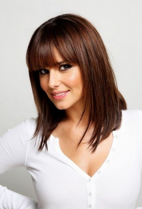 Layered Shoulder Length Hairstyle with Blunt Bangs