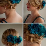 Low Braided Updo with Blue Hair Accessory