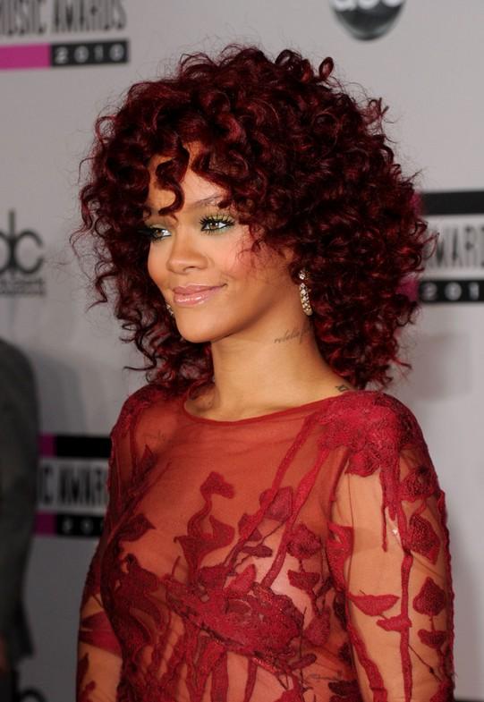 Rihanna Medium Red Curly Hairstyle
