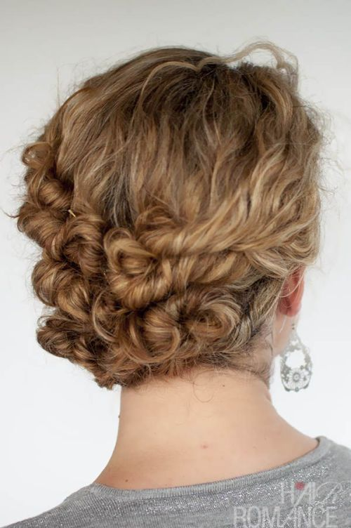 Back View of Twisted Curly Updo for Women
