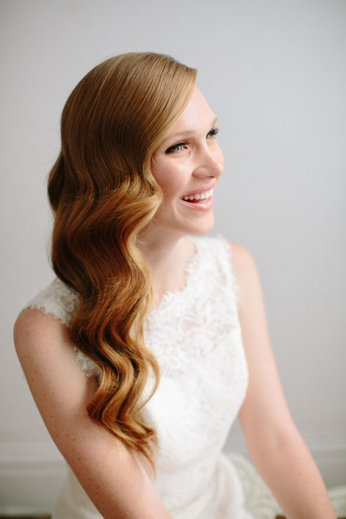 DIY Wedding Hairstyles: Romantic Deep Side Parted Long Wavy Hairstyle