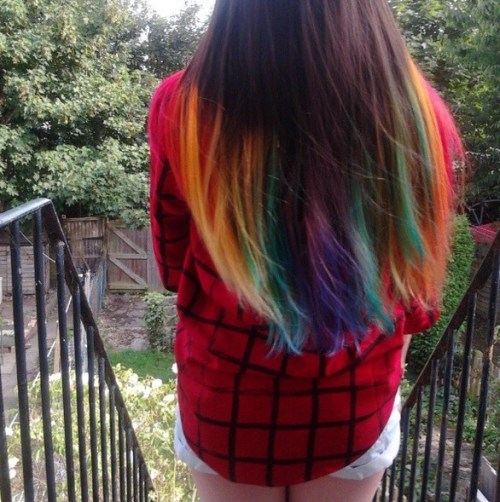 Hairstyle with Rainbow Colors