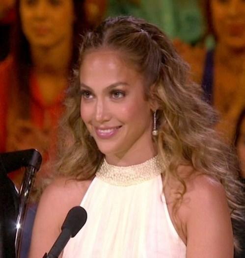 Jennifer Lopez Center Parting Half Up Half Down Hairstyle