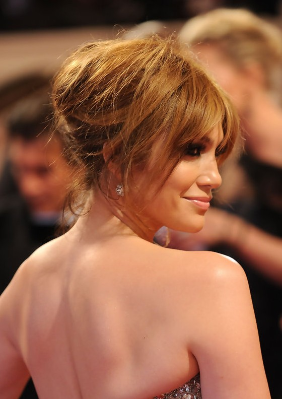Messy Chignon Updo for Night Out  Jennifer Lopez Loose Bun  Hairstyles Weekly