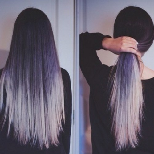 Pueple to Silver Hairstyle for Long Straight Hair
