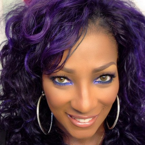 Purple Curly Hairstyle for Women
