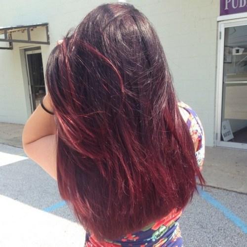 Rich burgundy Ombré Hairstyle for Long Hair