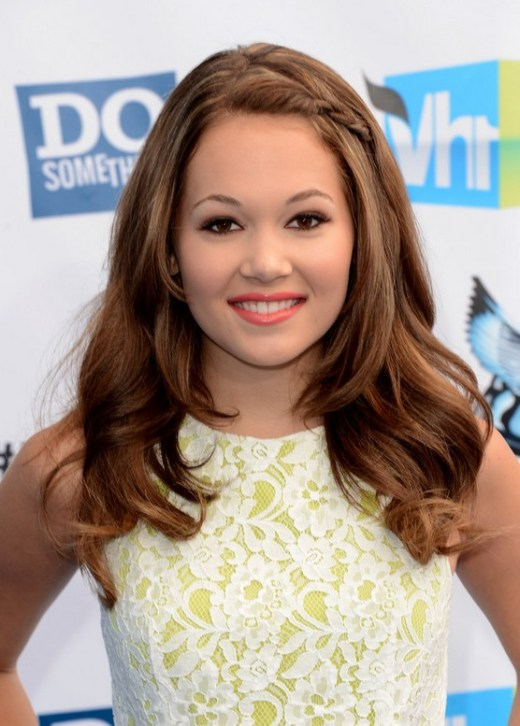 Kelli Berglund Long Brunette Hairstyle with Pulled Back Bangs