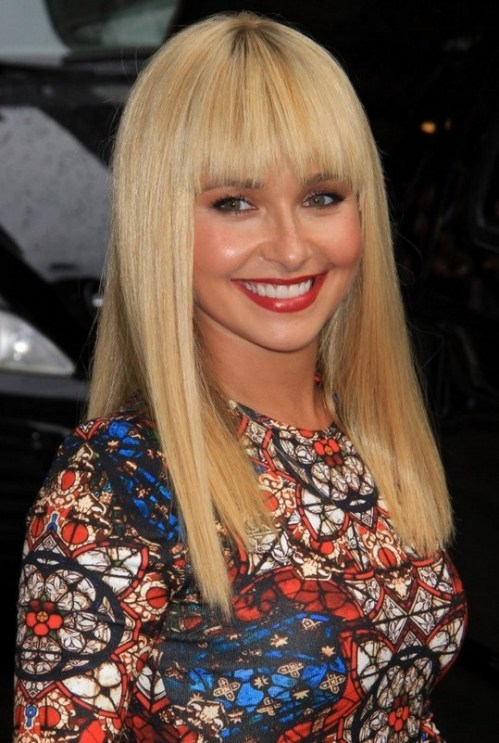 Hayden Panettiere Latest Super Cute Blonde Straight Haircut with Blunt Bangs for Winter