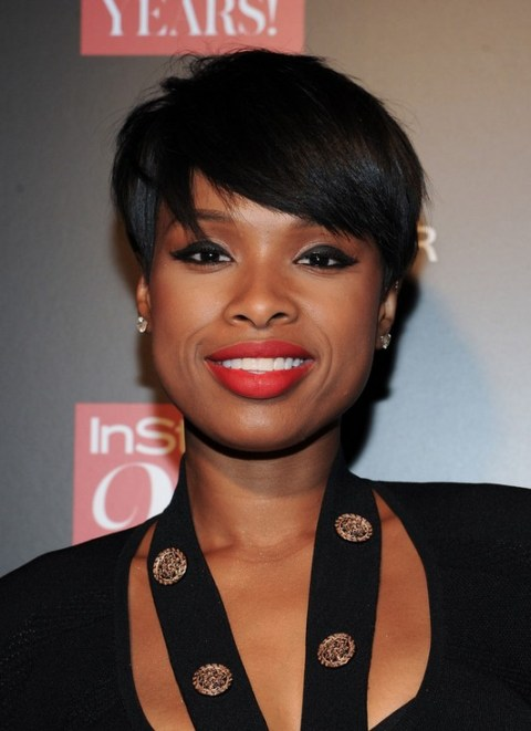 Jennifer Hudson Layered Short Black Razor Cut with Bangs for Black Women