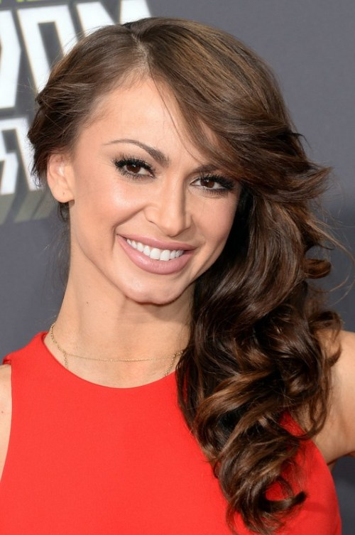 Karina Smirnoff Deep Side Parting Long Curly Hairstyle