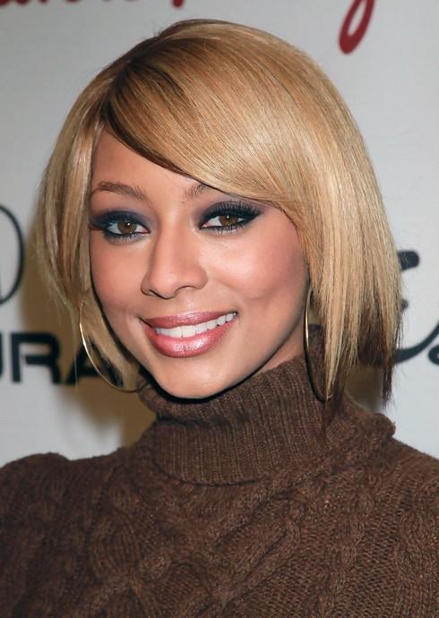 Keri Hilson Short Blonde Straight Bob Haircut for Black Women