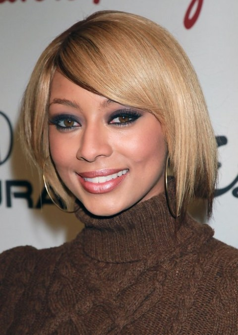 Keri Hilson Short Blonde Straight Bob Haircut for Black Women