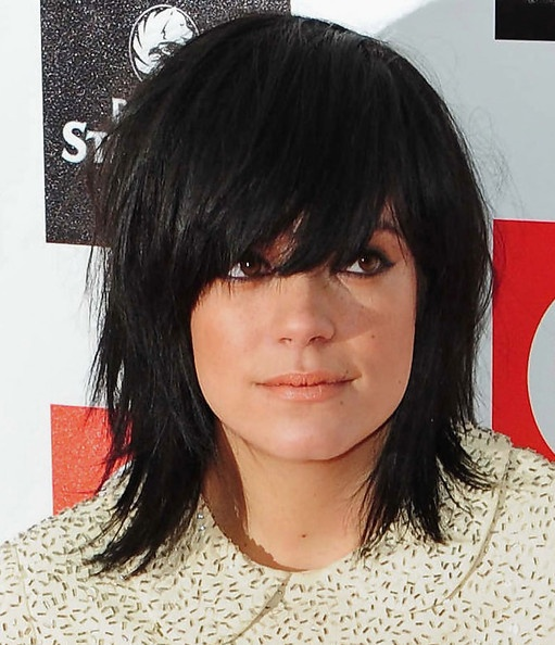 Lily Allen Medium Straight Shag Cut with Bangs