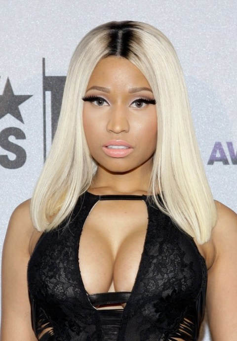 Nicki Minaj Long Blonde Straight Sleek Hairstyle for Black Women