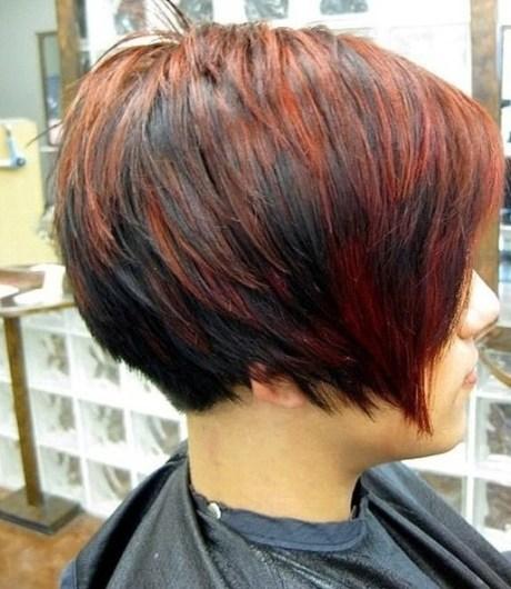 Short Red Black Bob Cut