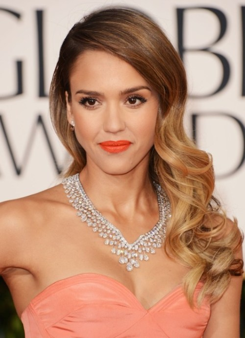 Side Swept Ombre Wavy Curly Hairstyle